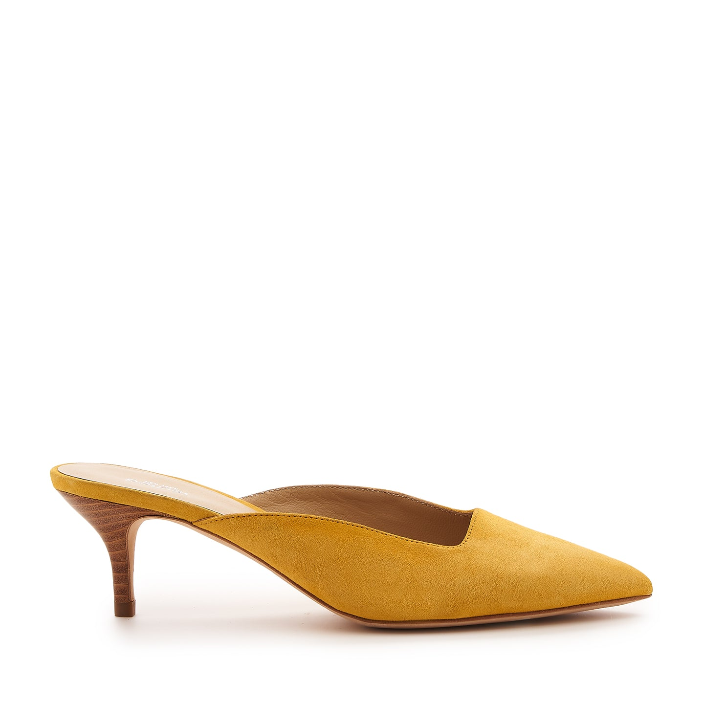 botkier perry kitten heel pointed toe mule in sunshine yellow