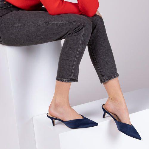 botkier pati pointed toe mule in midnight satin Alternate View