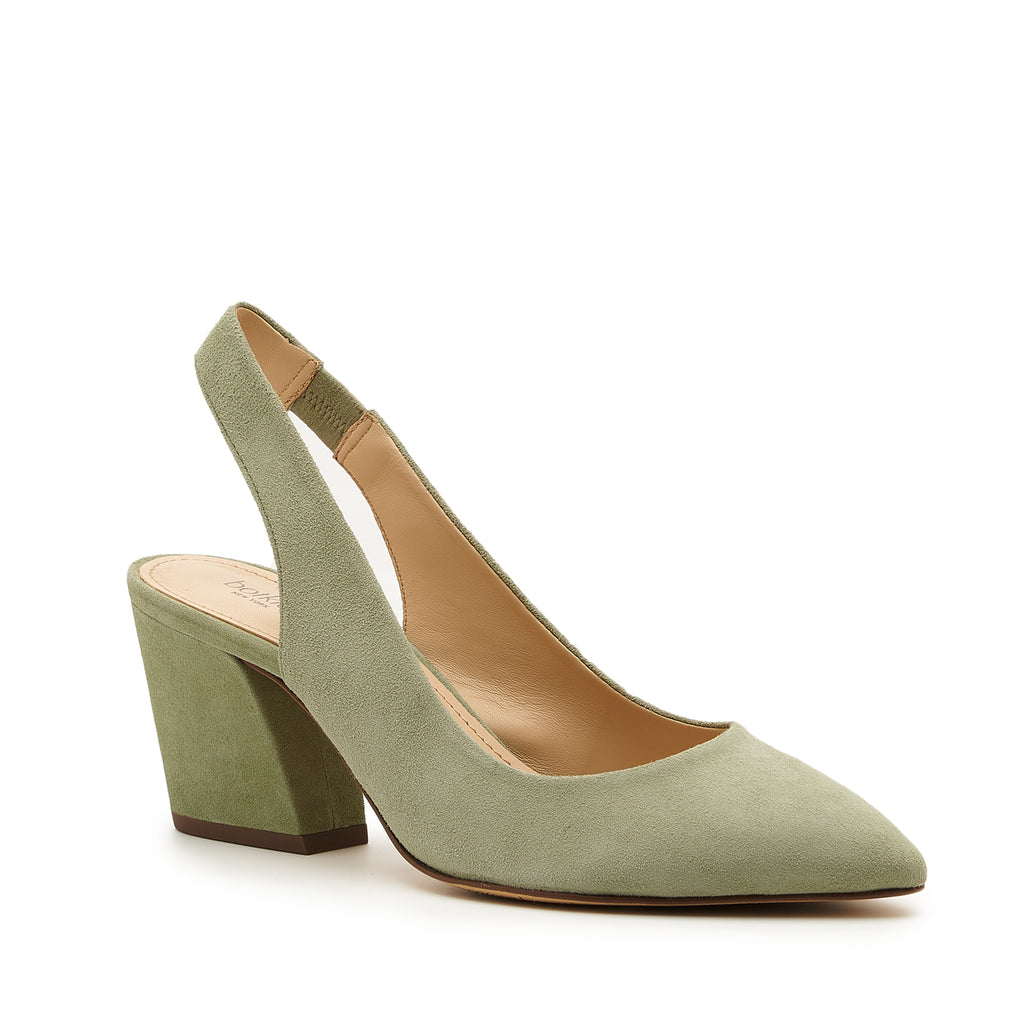 botkier shayla slingback almond toe low heel pump in olive green