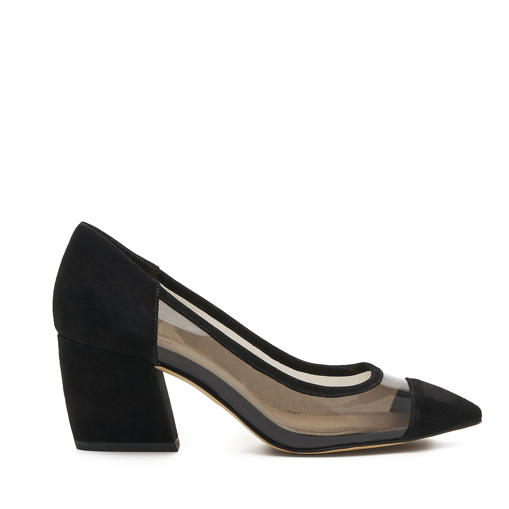 botkier sadie almond toe low heel pump in black and clear pvc
