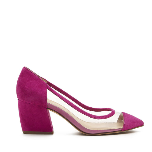 botkier sadie almond toe low heel pump in pink and clear pvc