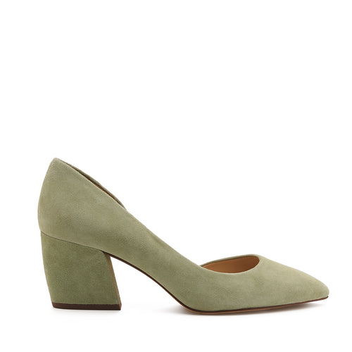botkier sena d'orsay low heel almond toe pump in olive gren