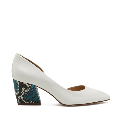 botkier sena d'orsay low heel almond toe pump in black with aqua blue snake wrapped heel