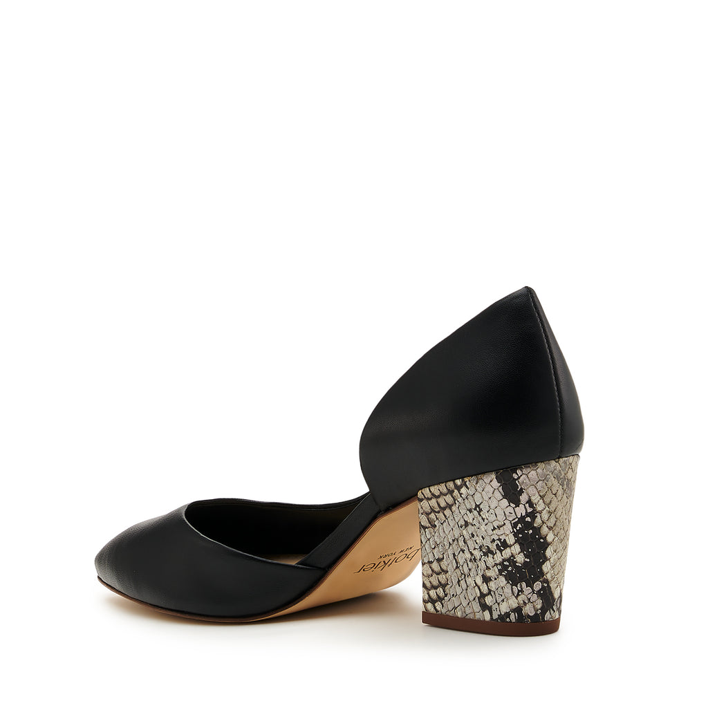 botkier sena d'orsay low heel almond toe pump in black with metallic snake wrapped heel