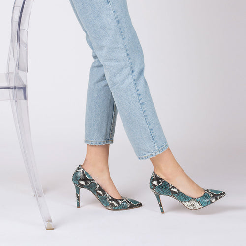 botkier marci almond toe pump in aqua blue snake Alternate View