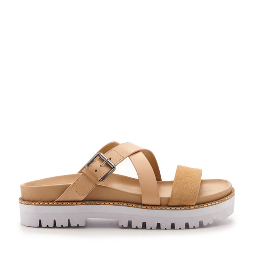 botkier jupiter footbed slide in natural and biscuit brown