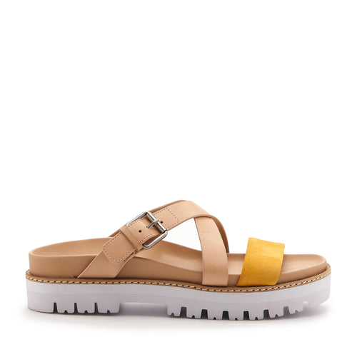 botkier jupiter footbed slide in natural and sunshine yellow