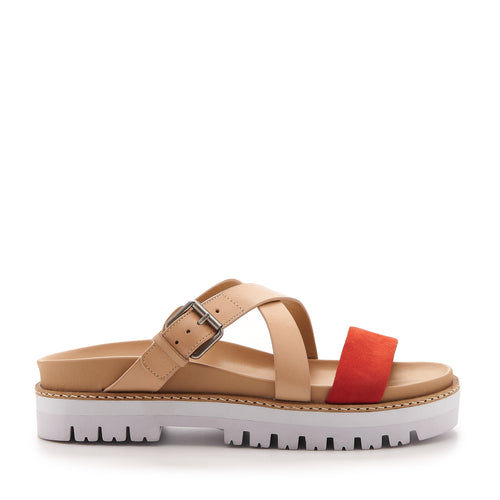 botkier jupiter footbed slide in natural and tangerine orange