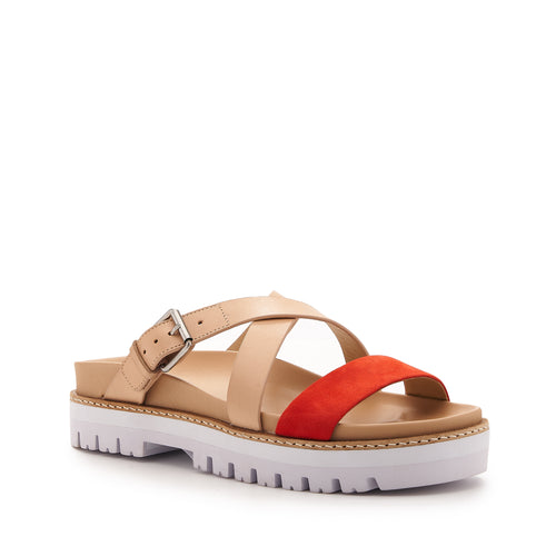 botkier jupiter footbed slide in natural and tangerine orange Alternate View
