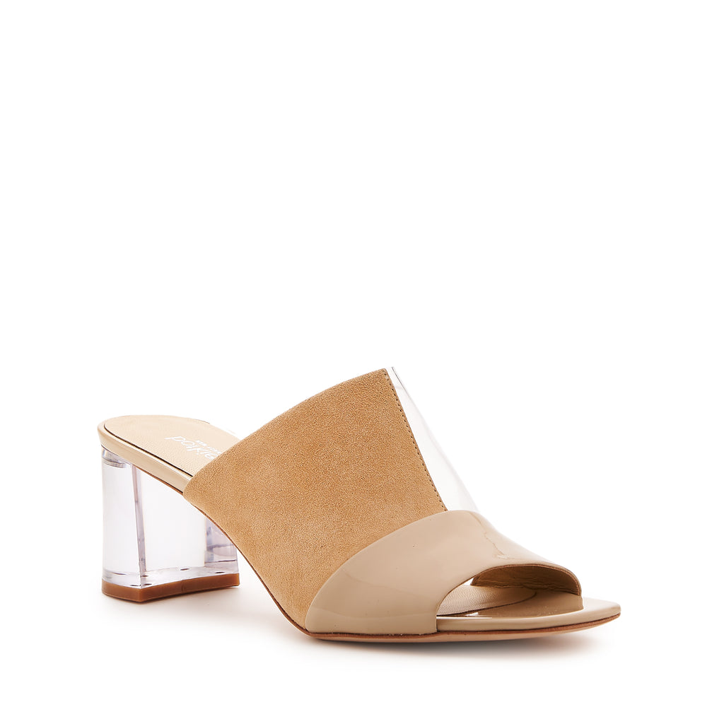 botkier decker lucite low heel open toe mule in biscuit brown and clear pvc patchwork
