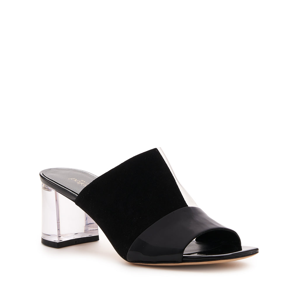 botkier decker lucite low heel open toe mule in black and clear pvc patchwork