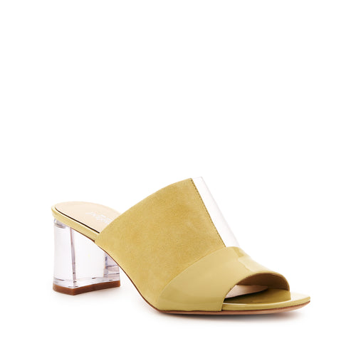 botkier decker low lucite heel open toe mule in lemon meringue yellow and clear pvs patchwork Alternate View