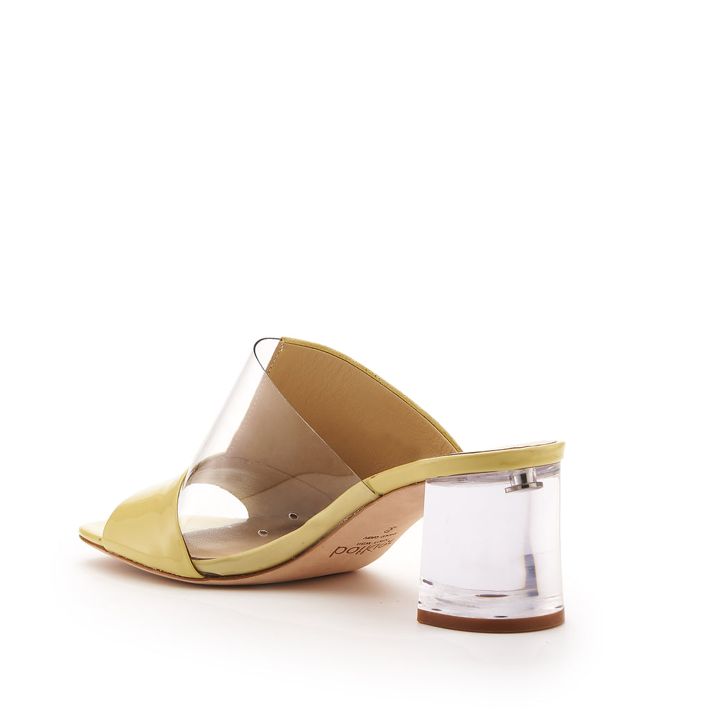 botkier decker low lucite heel open toe mule in lemon meringue yellow and clear pvs patchwork