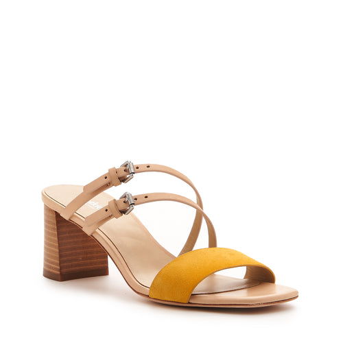 botkier dune low heel strappy sandal in natural and sunshine yellow Alternate View