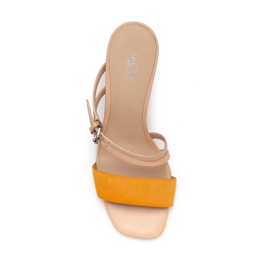 botkier dune low heel strappy sandal in natural and sunshine yellow