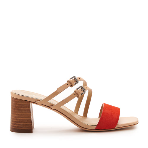 botkier dune low heel strappy sandal in natural and tangerine orange