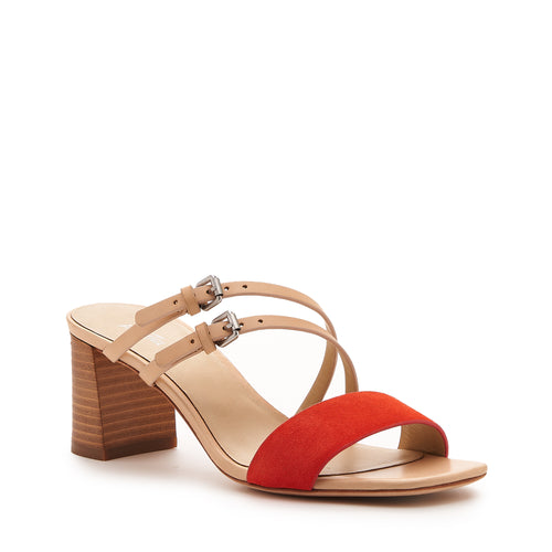 botkier dune low heel strappy sandal in natural and tangerine orange Alternate View