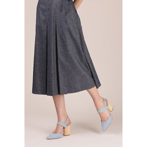 botkier halle pointed toe mary jane heel in blue wash denim Alternate View