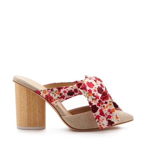 botkier hampton pointed toe wood heel mule in natural with red floral bow