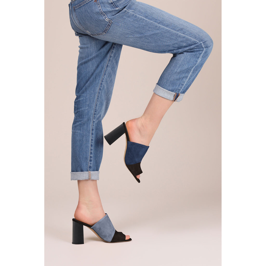 a08236fe57c Remy Peep Toe Mule (Black Navy) - Women s NYC Designer Leather Shoes ...