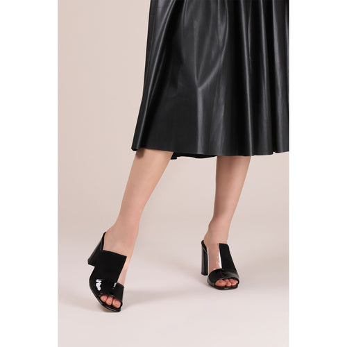 botkier rialto open toe heel mule in cherry black suede patent and clear pvc patchword Alternate View