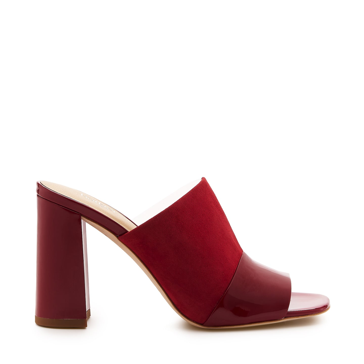 botkier rialto open toe heel mule in cherry red suede patent and clear pvc patchword