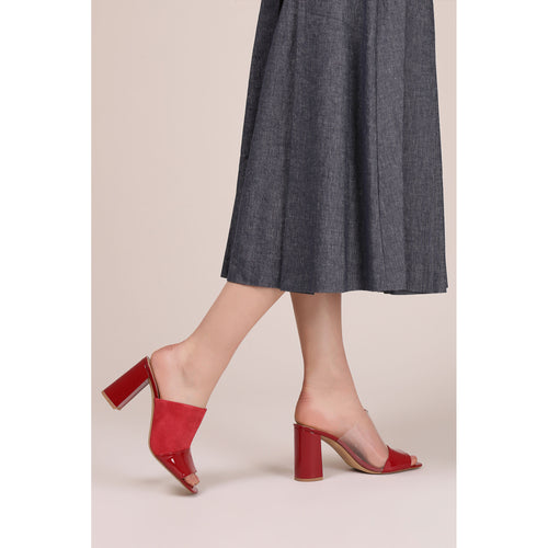 botkier rialto open toe heel mule in cherry red suede patent and clear pvc patchword Alternate View