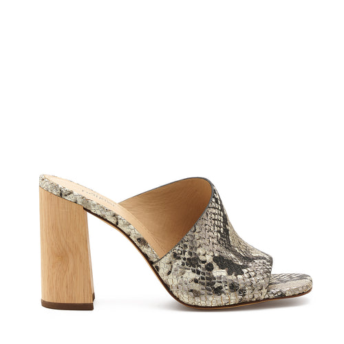 botkier ross d'orsay open toe mule heel in metallic snake