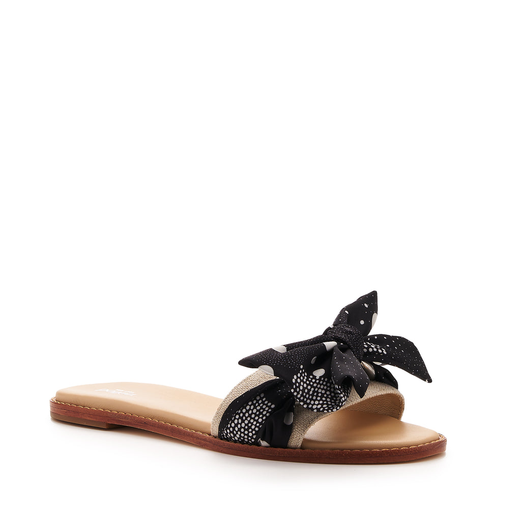 botkier zahara flat slide sandal in natural with black dor print bow