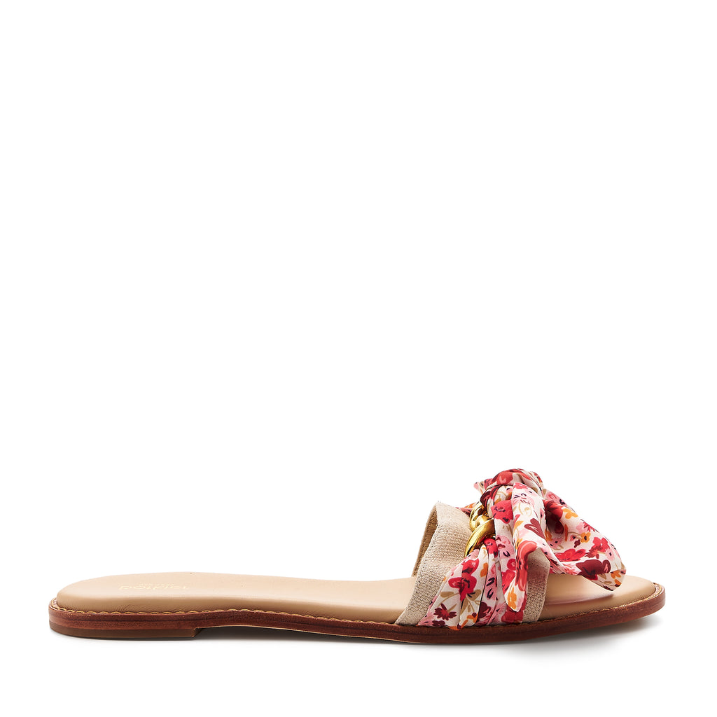 botkier zahara flat slide sandal in natural with floral print bow