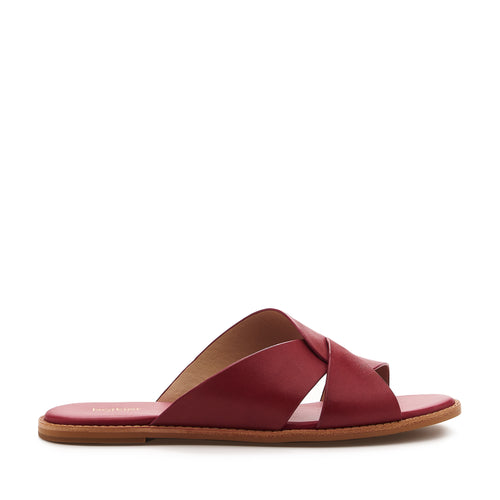 botkier zuri twist flat slide sandal in cognac cherry red