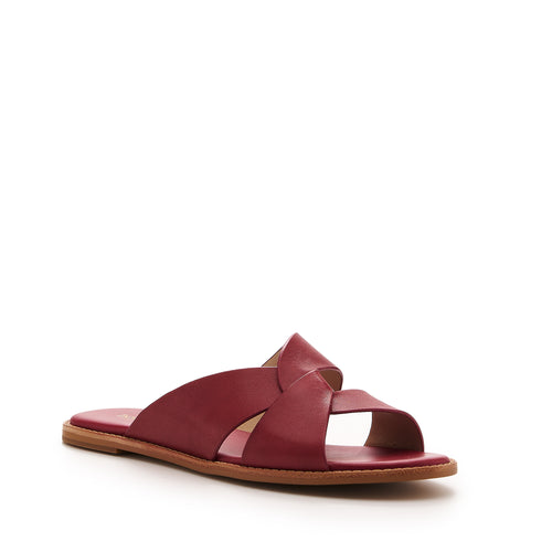 botkier zuri twist flat slide sandal in cognac cherry red Alternate View