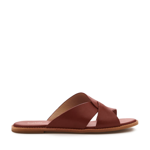 botkier zuri twist flat slide sandal in cognac brown