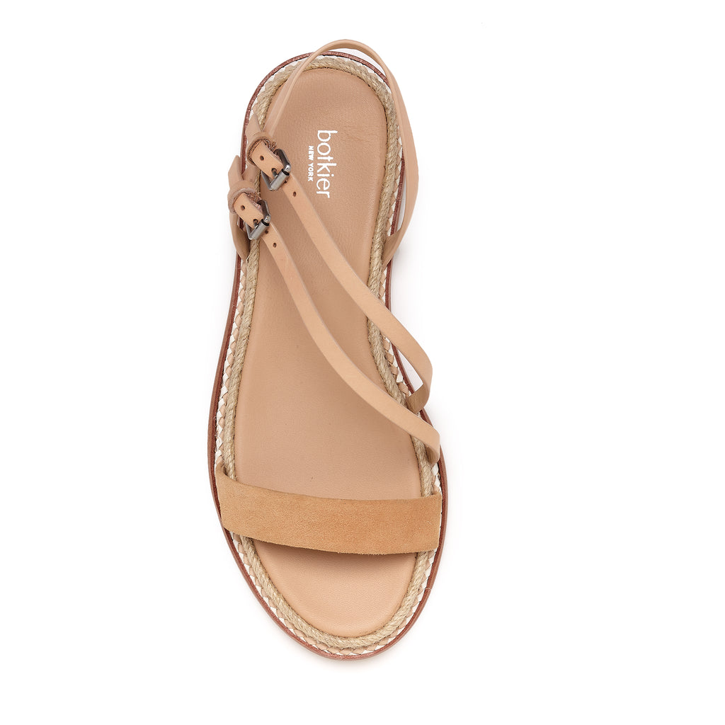 botkier island flat strappy sandal in vachetta and biscuit brown