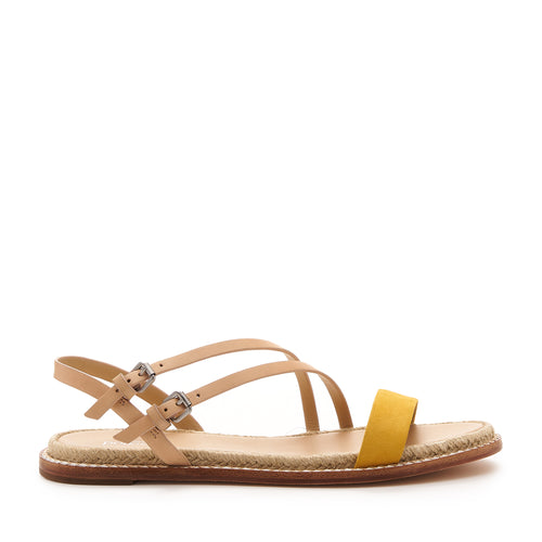 botkier island flat strappy sandal in vachetta and sunshine yellow