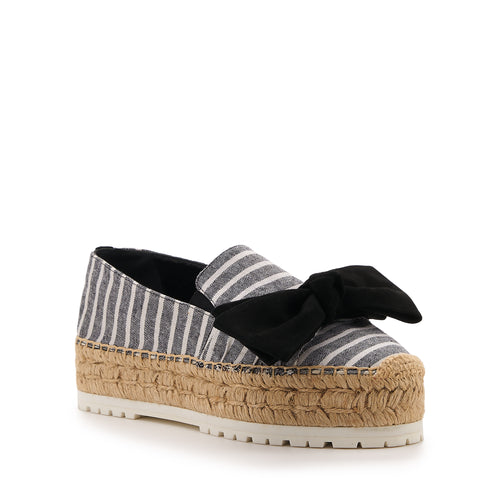 botkier wesley espadrille with bow in black striped canvas with black bow Alternate View