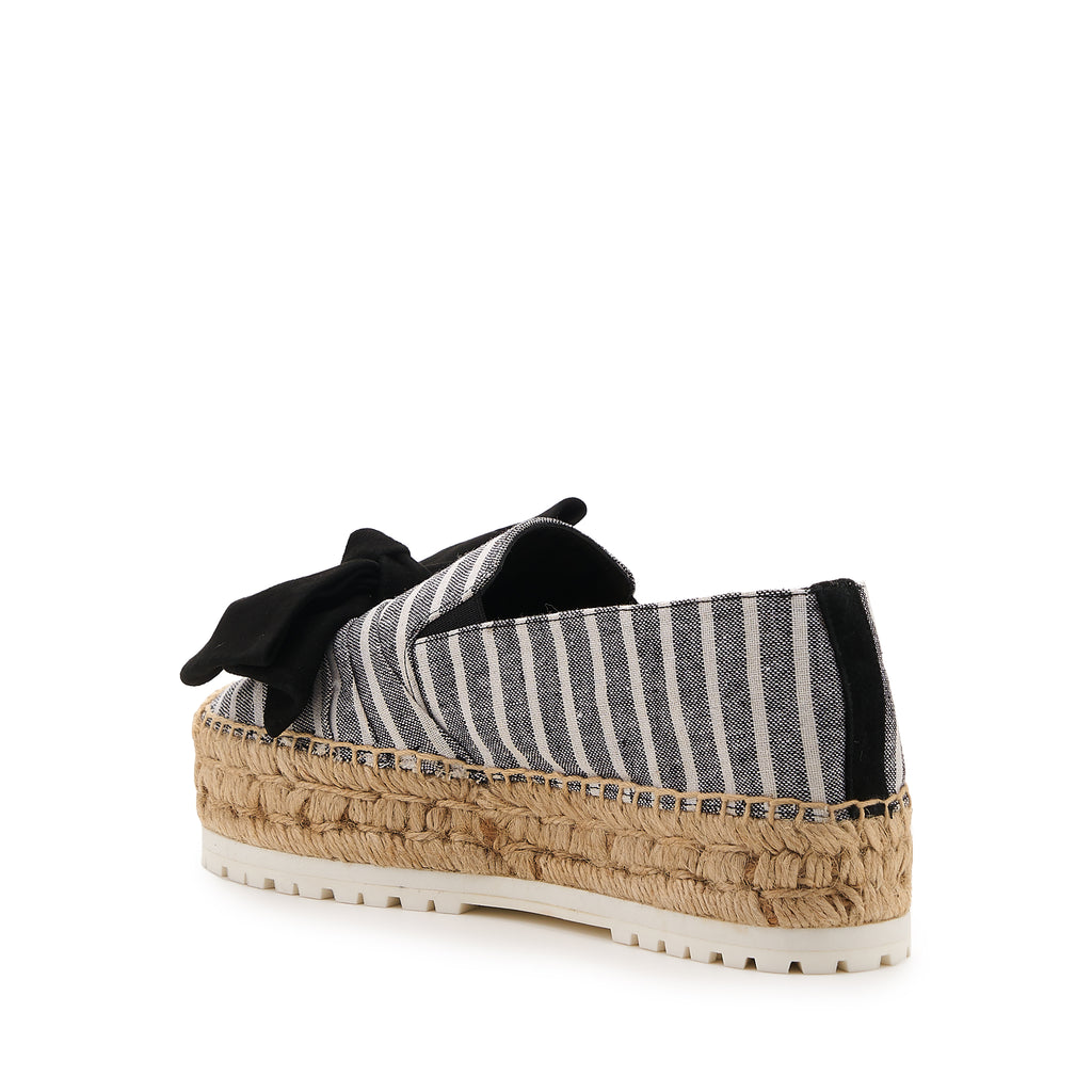 botkier wesley espadrille with bow in black striped canvas with black bow