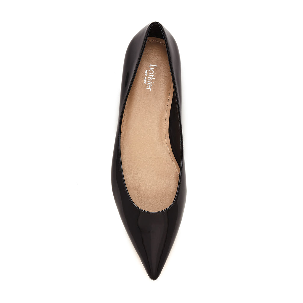 annika flat black patent top