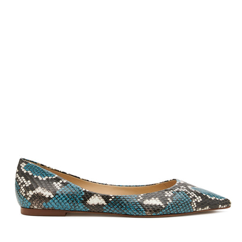 botkier annika pointed toe flat in aqua blue snake