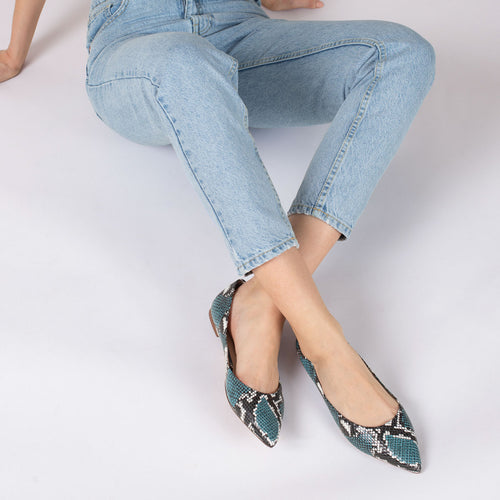 botkier annika pointed toe flat in aqua blue snake Alternate View