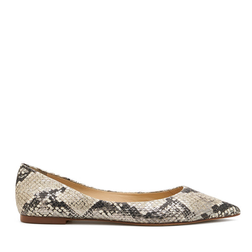 botkier annika pointed toe flat in metallic snake