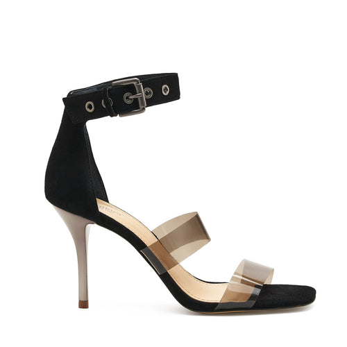 lorri heel sandal in black with black vinyl straps