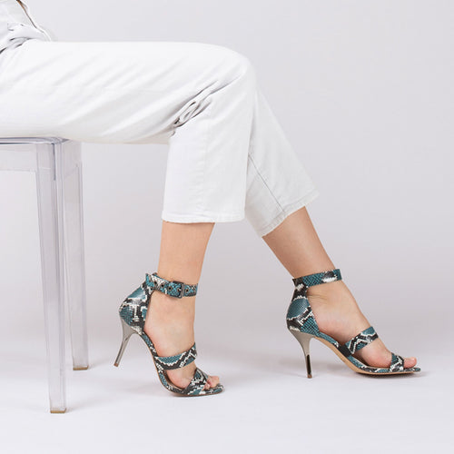 lorri heel sandal in aqua blue snake Alternate View