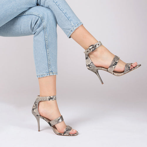 lorri heel sandal in metallic snake Alternate View