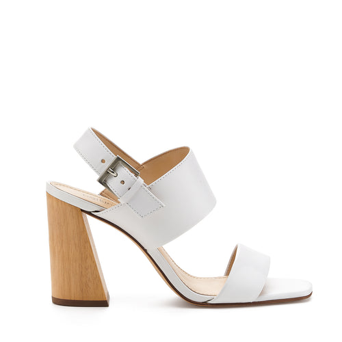 botkier farrah angled natural wood heel sandal in white