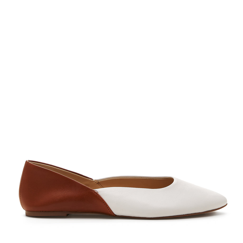 botkier britt round toe flat in white and cognac brown combo