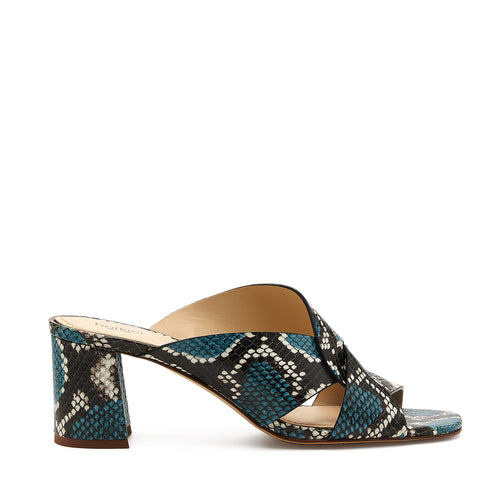 botkier ulla cross strap low heel mule in aqua blue snake