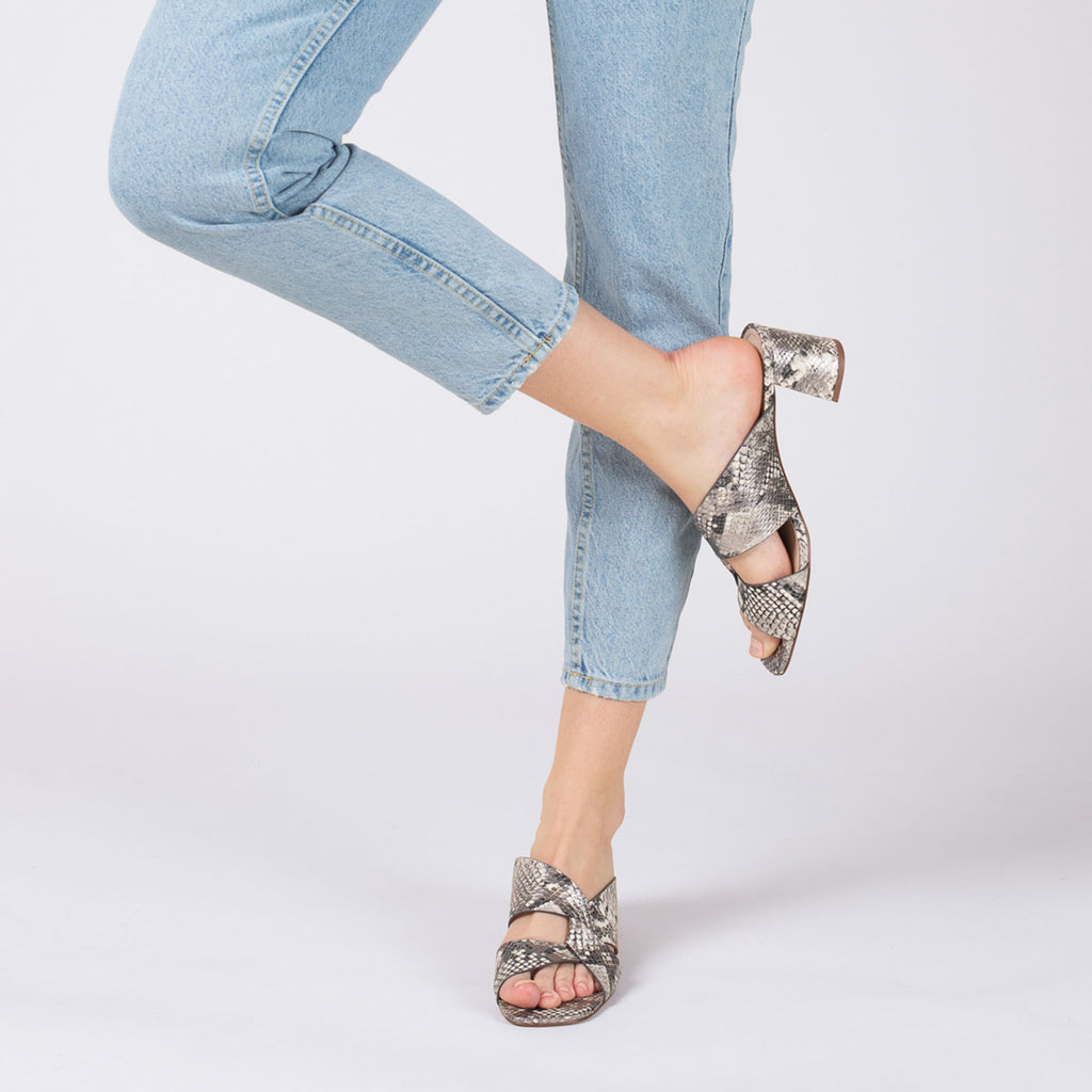 botkier ulla cross strap low heel mule in metallic snake