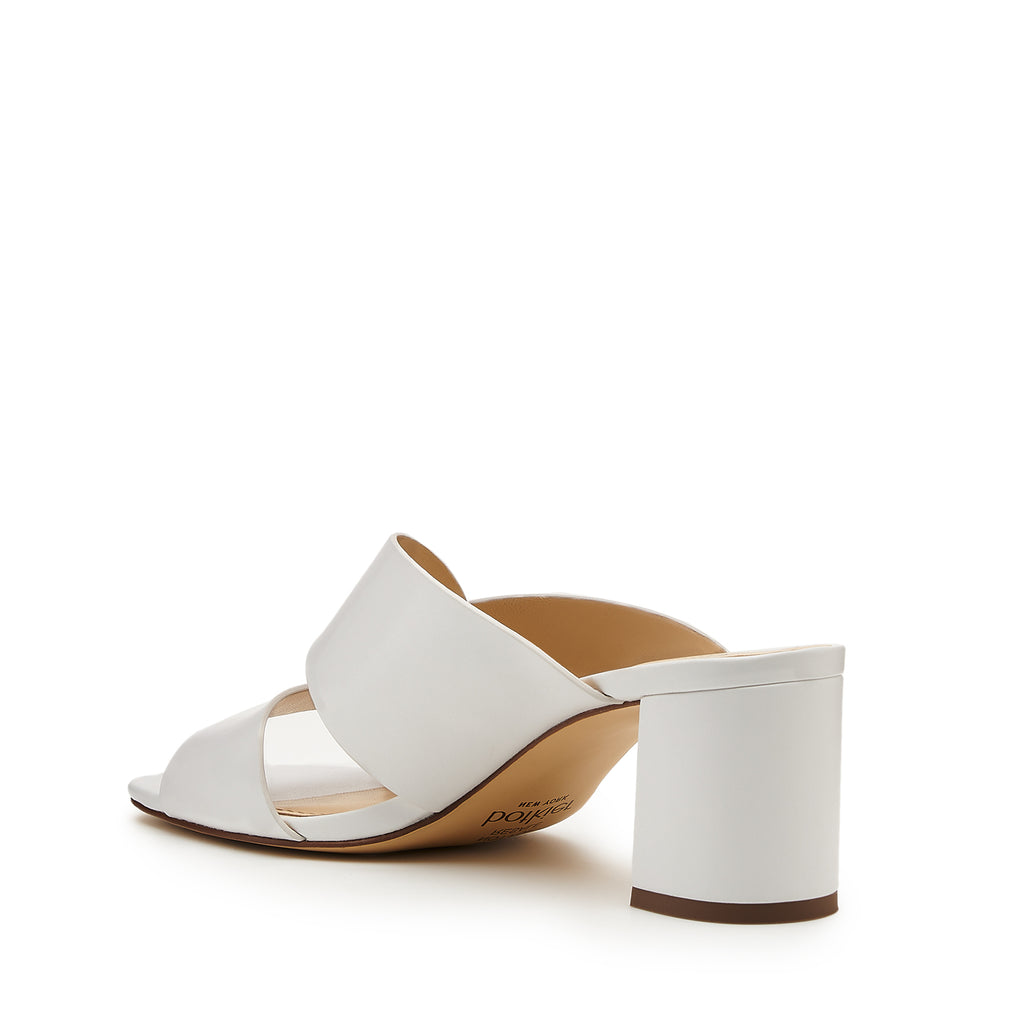 botkier ulla cross strap low heel mule in white