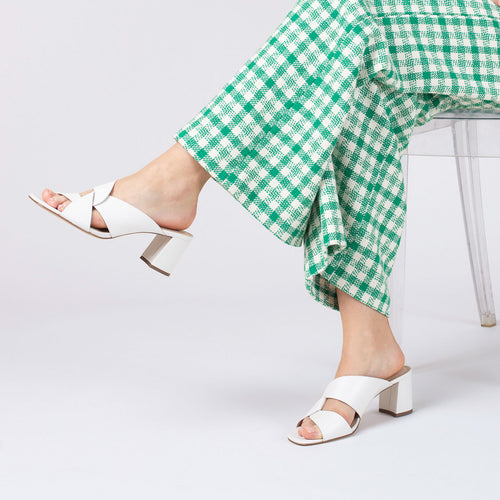 botkier ulla cross strap low heel mule in white Alternate View